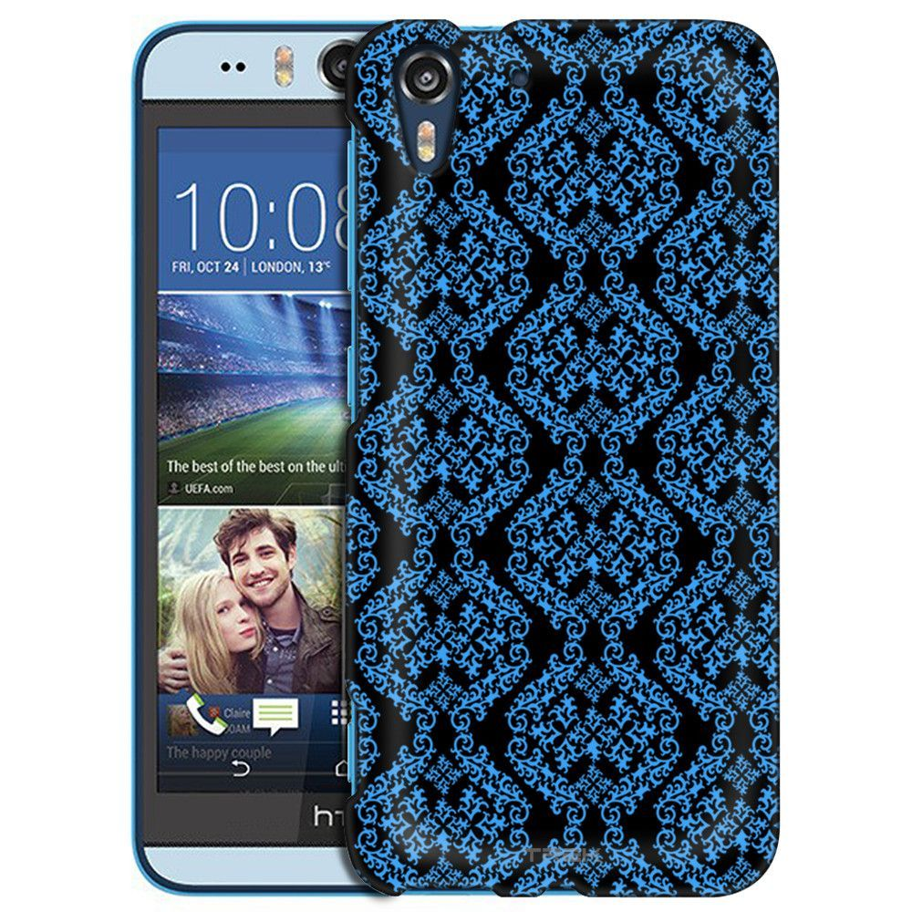HTC Desire EYE Victorian Stunning Blue on Black Slim Case