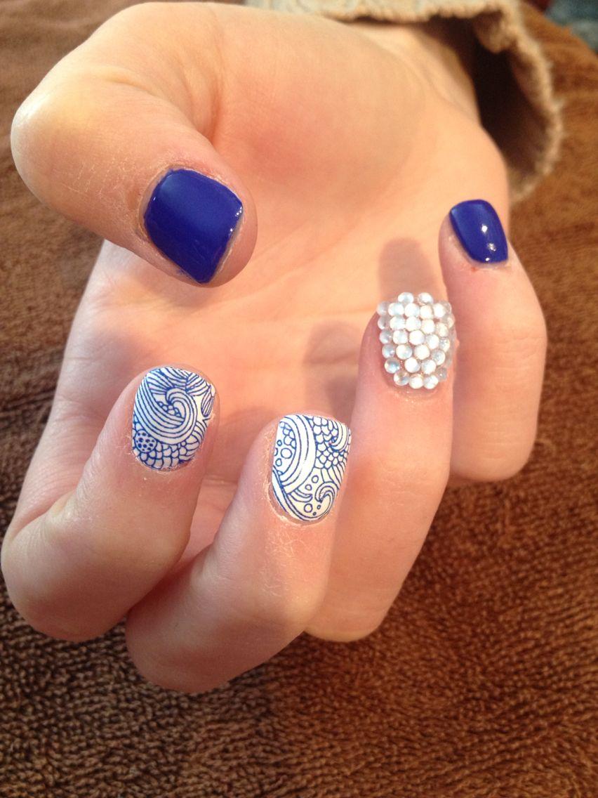 Cobalt & white nails