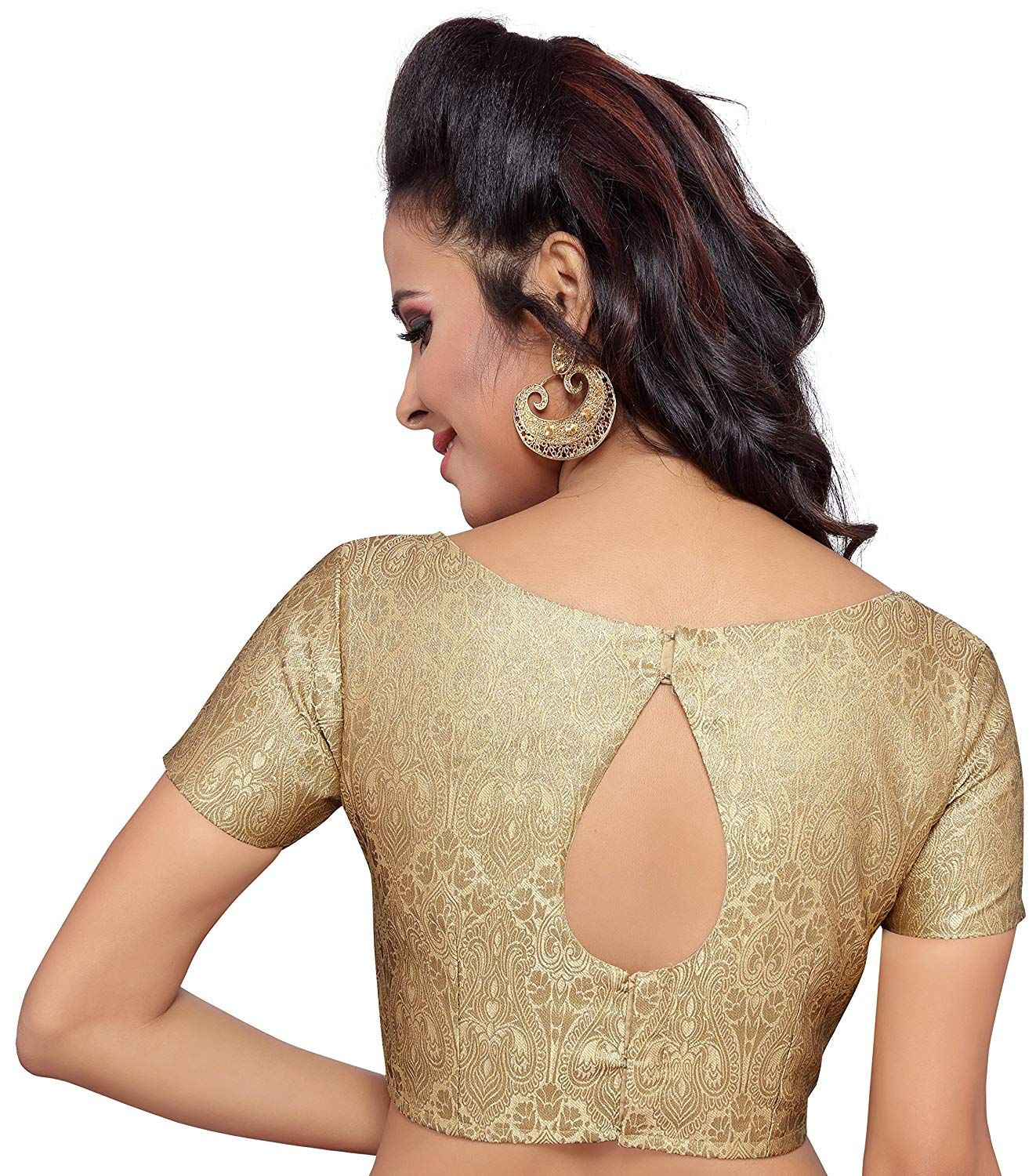 2d6b668f9b8fc3 STUDIO SHRINGAAR WOMEN'S GOLDEN BROCADE SAREE BLOUSE WITH STONEWORK  NECKLINE AND SHORT SLEEVES: Amazon.in: Clothing & Accessories