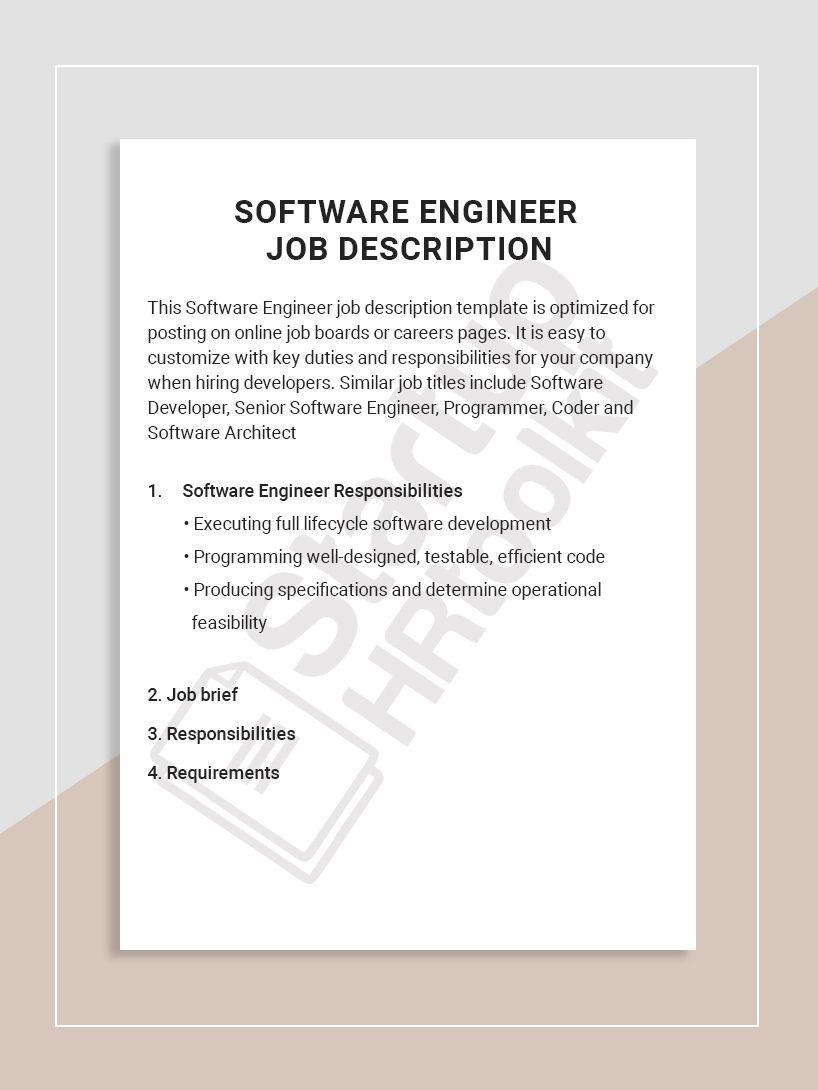 Software Engineer Job Description Job Description Template Event Coordinator Job Description Office Manager Job Description