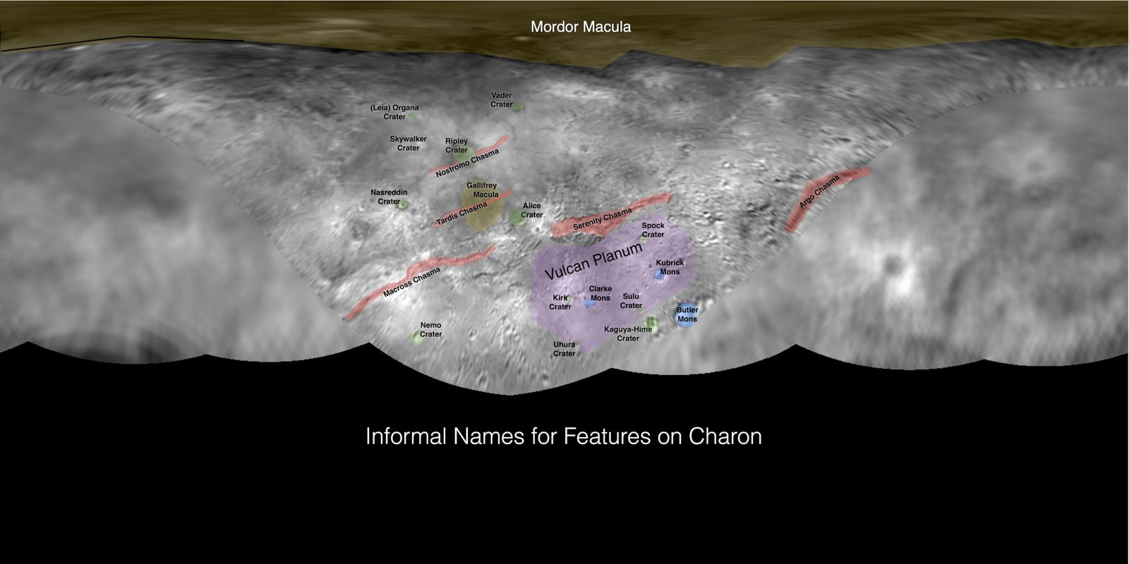 """The team behind NASA's New Horizons mission, which performed the first-ever Pluto flyby last month, has named some Charon craters after characters from the """"Star Wars"""" and """"Star Trek"""" franchises, including Darth Vader and Capt. James T. Kirk."""