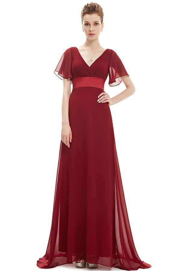 Chicloth Plus Size Ruffles Padded Chiffon Evening Gowns