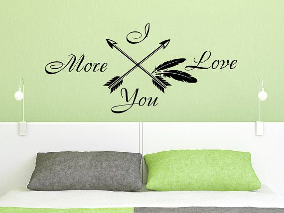 Wall Decals Quotes I Love You More Arrow Quote Vinyl Sticker Decal Art Home Decor Feather Arrows Fashion Bohemian Wall Quotes Decals Love You More Wall Decals
