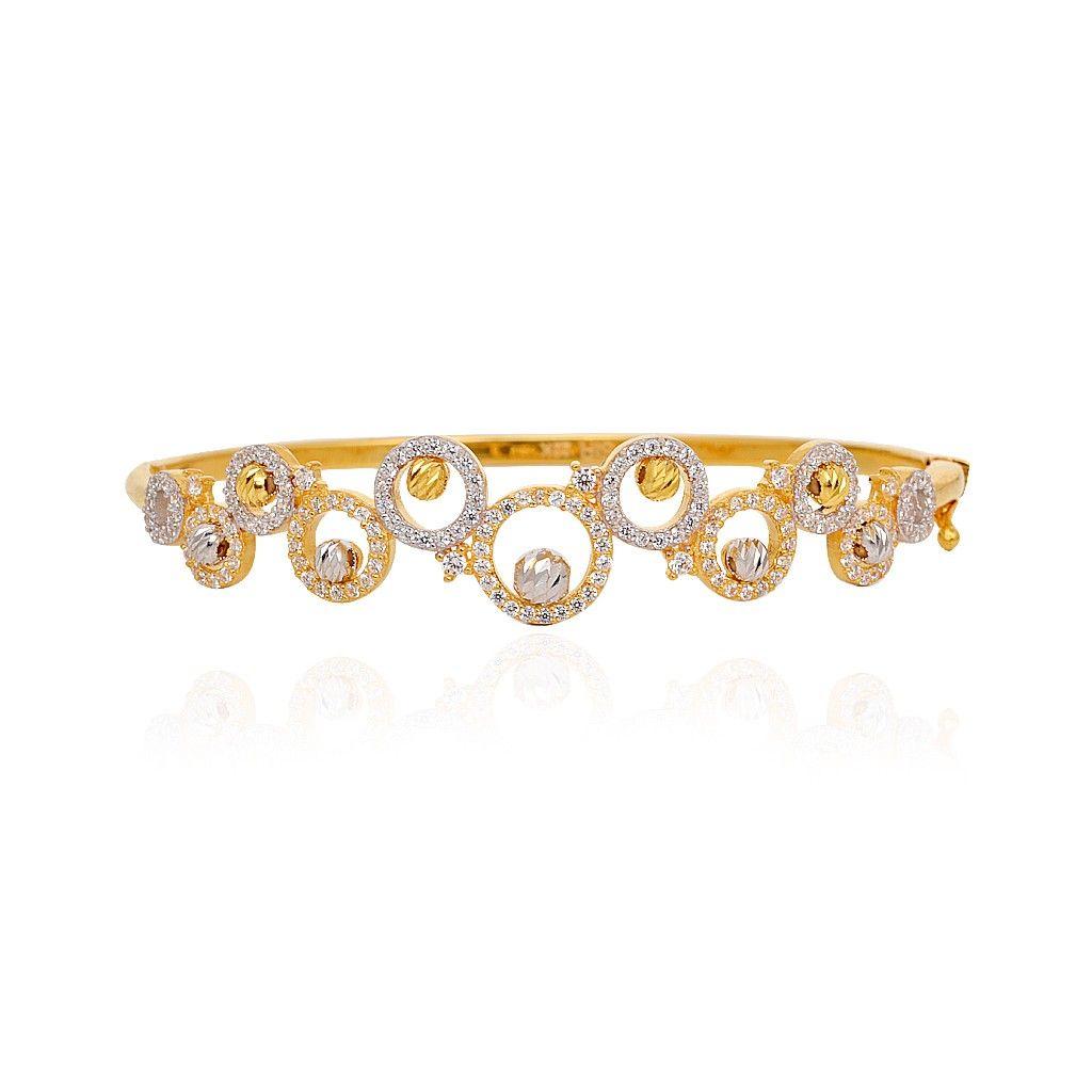 22KT Stone Studded Circle With Balls Gold Bracelet