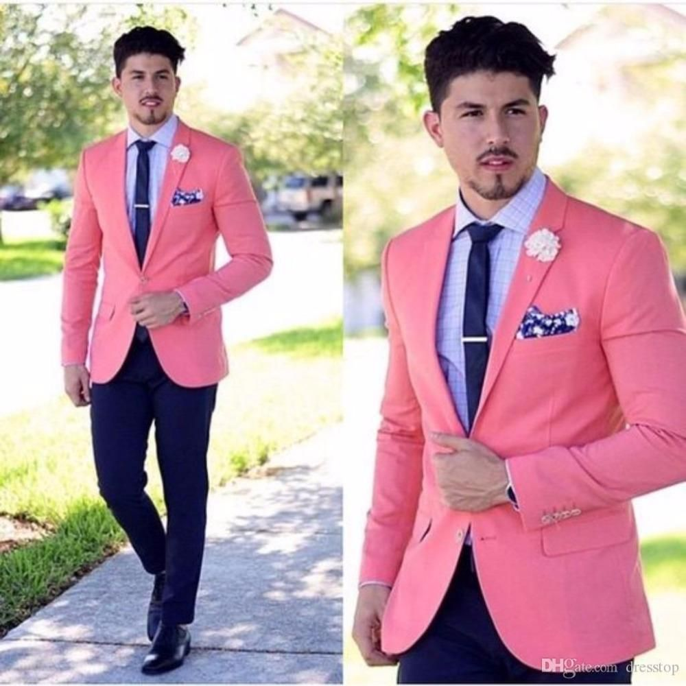 Latest Coat Pants Designs Hot Pink Wedding Suits For Men Slim Fit 2 ...
