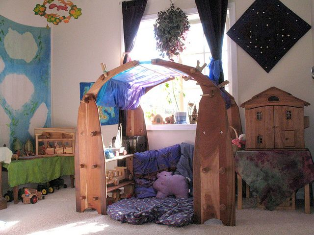 Waldorf play space with my favorite Camden Rose hard wood play stand