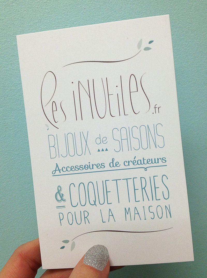 Flyer Les inutiles // Bijoux de saisons, accessoires de créateurs & coquetteries pour la maison // typo - photo ©Lesinutiles