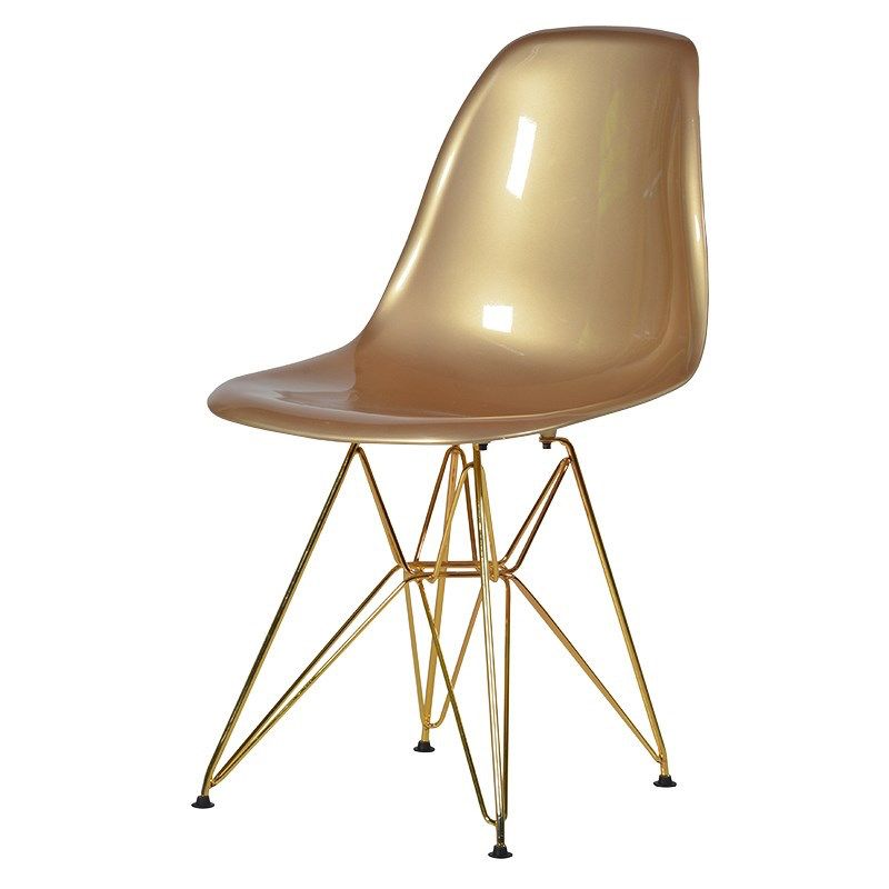 20th Century Gold Plastic Dining Chair With Gold Metal Legs