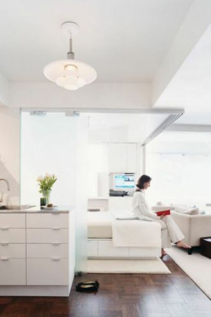 7 Super-Small Spaces We Could Actually See Ourselves Living In #refinery29  http://www.refinery29.com/best-small-spaces#slide-7  This apartment is a fantastic example of what you can do with a little over 500 square feet. For an open floor plan, the sliding partition remains open, but for privacy, the doors close easily. This creates an ideal space for couples who don't need a lot of room to roam — but do, on occasion, want some alone time behind closed doors.