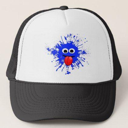 Emoji Motion Dabbing Blue Splatter Design Trucker Hat Emoji Emojis Smiley Smilies Trucker Hat Baseball Trucker Hat Hats
