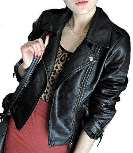 Classic Moto BikerRacer Faux Leather Jacket For Women