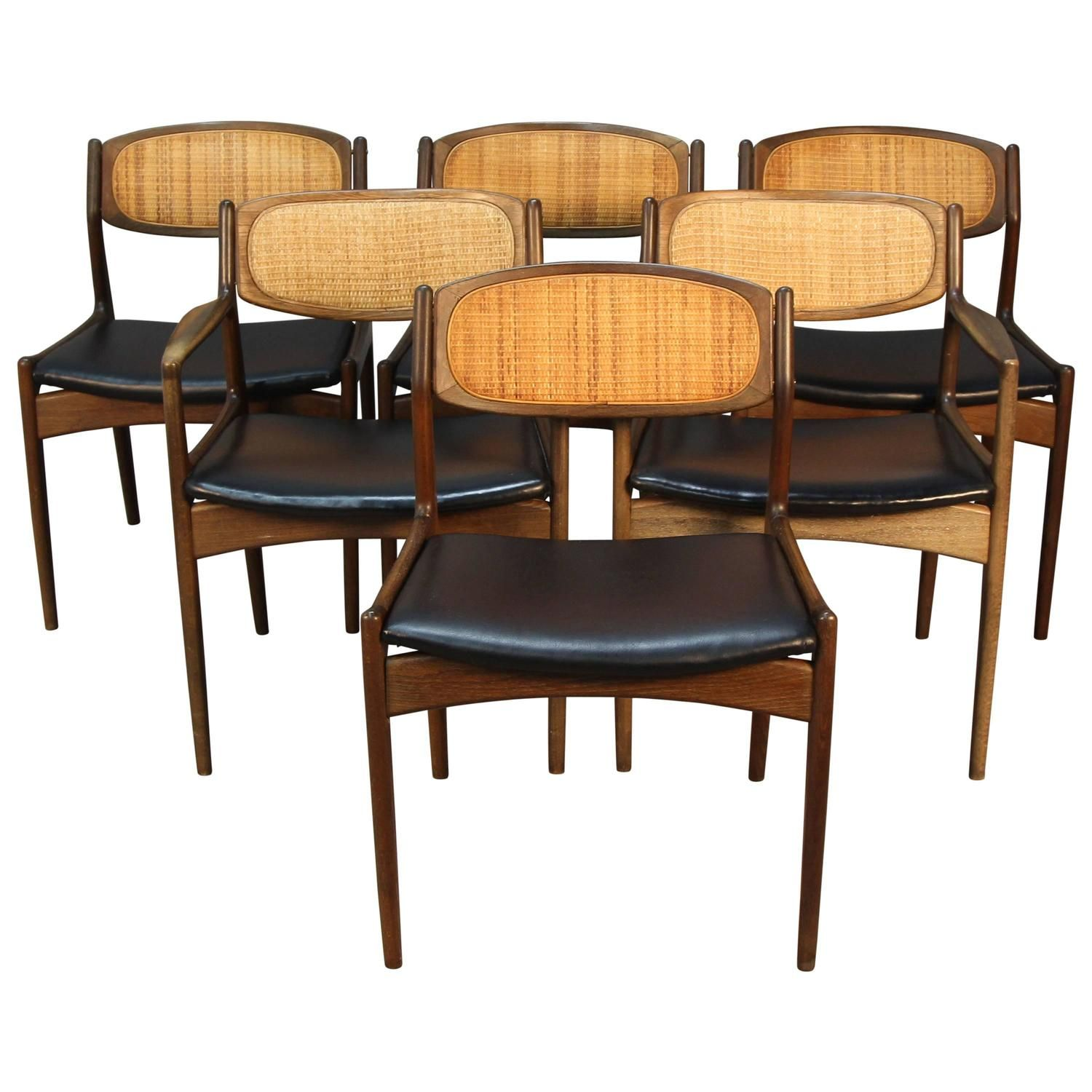 Room Set Of Six Danish Modern Selig Walnut Dining Chairs