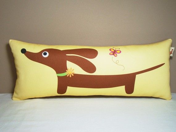Dachshund Dog Pillow Doxie and the Butterfly in Sunshine