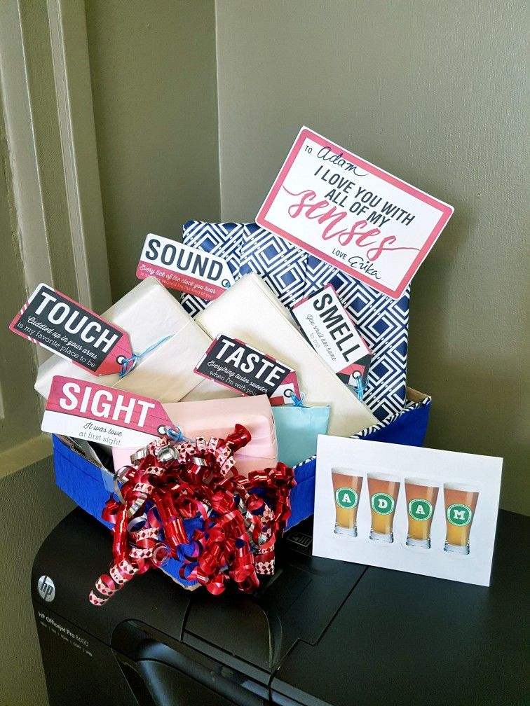 5 Senses Gift Basket for my husband's birthday! Husband