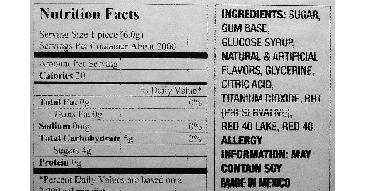 Bazooka Bubble Gum Nutrition Facts In 2021 Nutrition Facts Nutrition Bazooka Bubble Gum