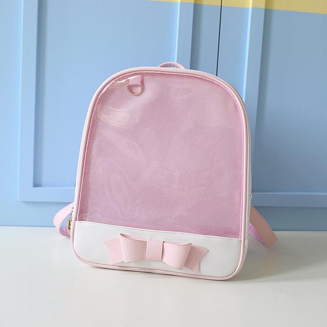MSMO Cute Clear Transparent Bow Backpack Ita Bag Harajuku School Bags For Teenage  Girls Rucksack Kids Kawaii Backpack Itabag 595db193cf50
