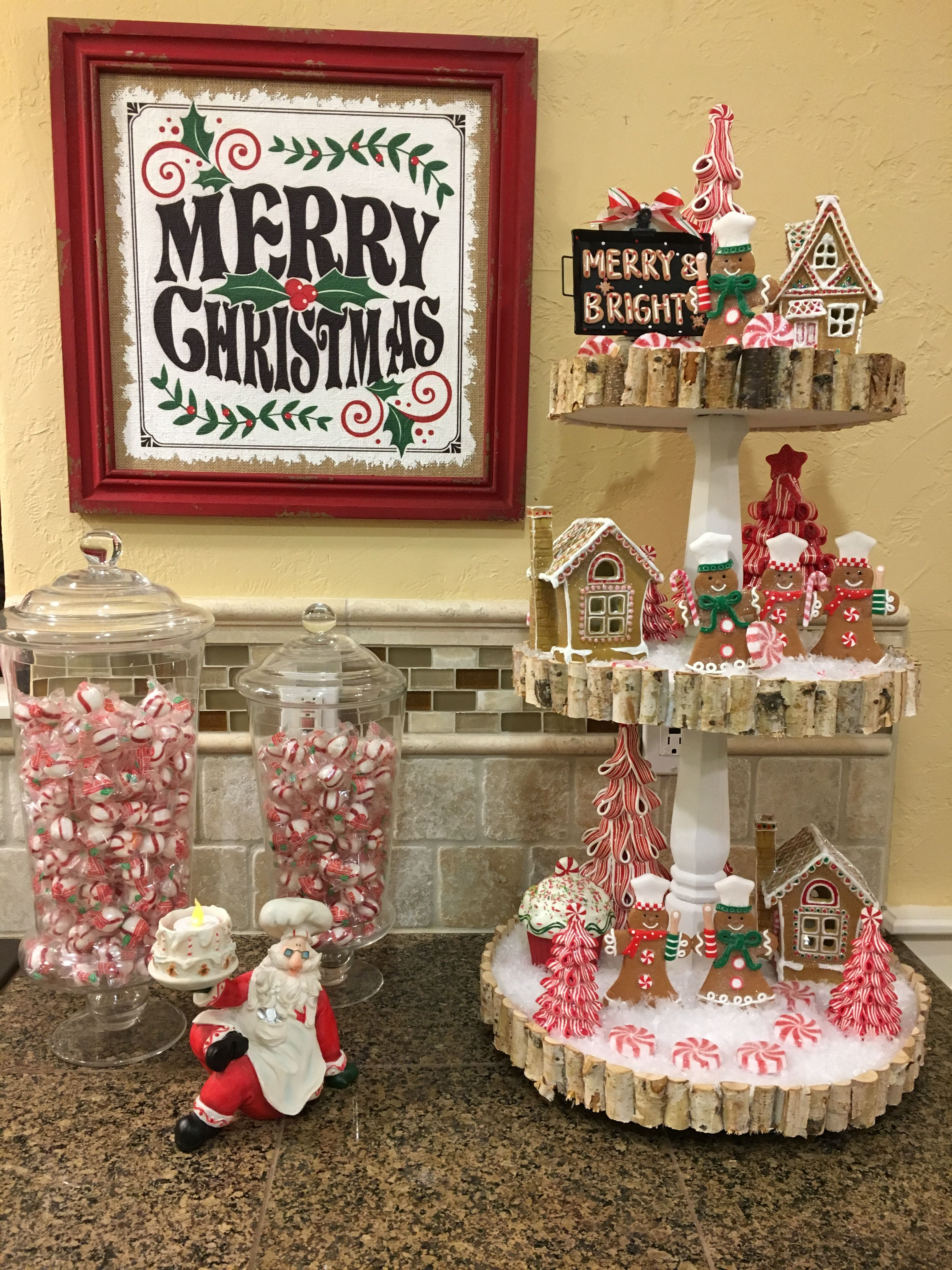 Christmas Fun Cookies Gingerbread Houses Santa And Candy I Wanted A Little Gingerbread Christmas Decor Christmas Kitchen Decor Dollar Tree Christmas Decor