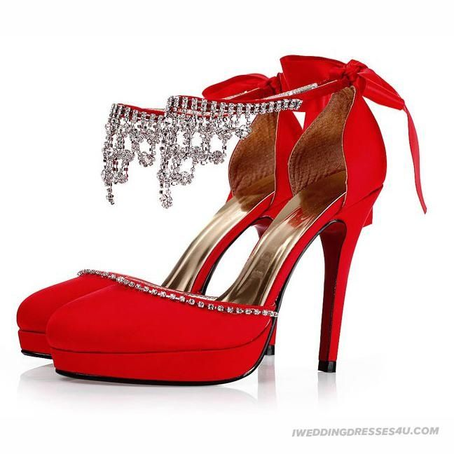 Red heels with diamonds | Diamond Waterproof Red Wedding Shoes ...