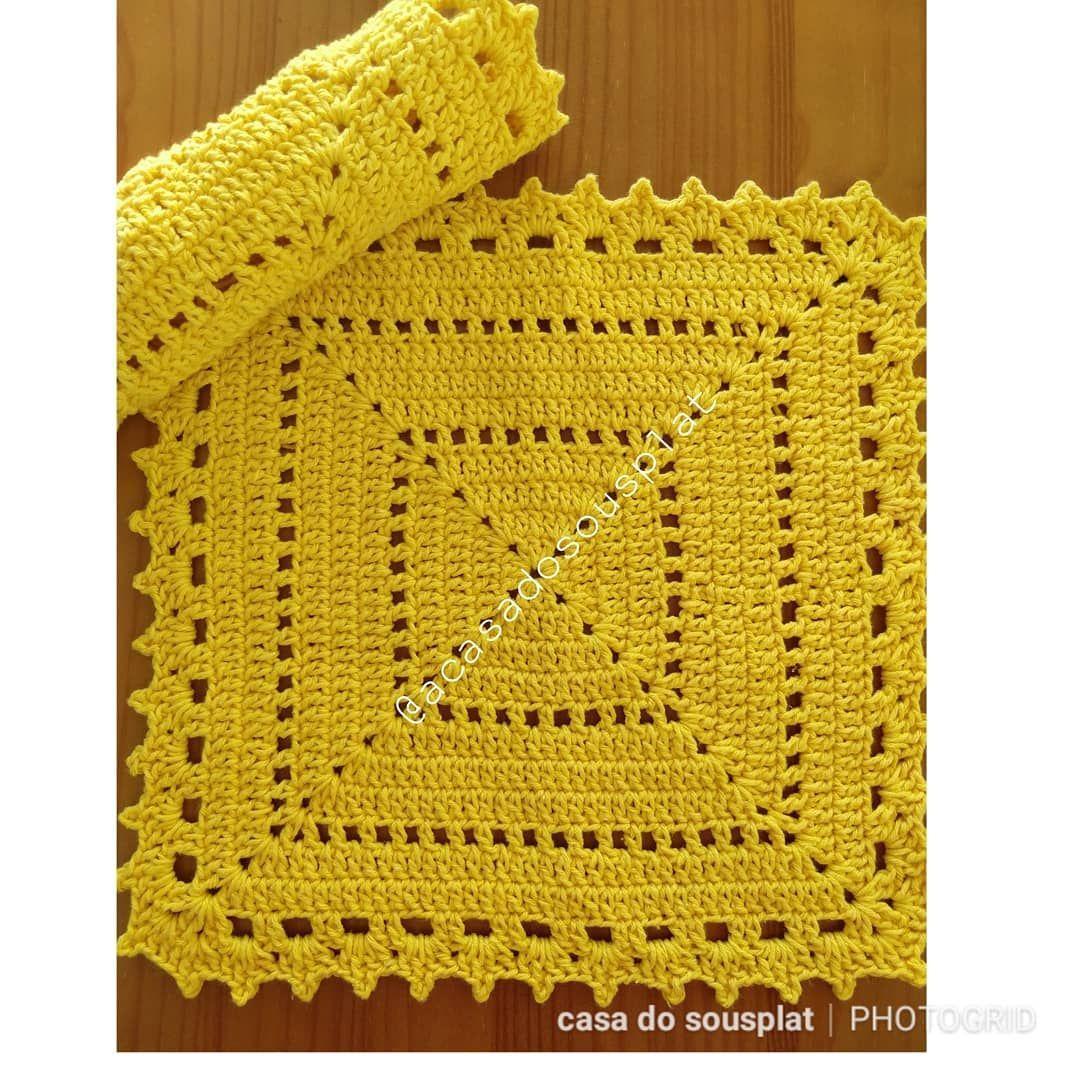 Grafico de guardanapo de croche quadrado