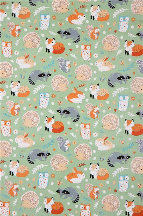 green forest animal Clothworks organic fabric Critter ...