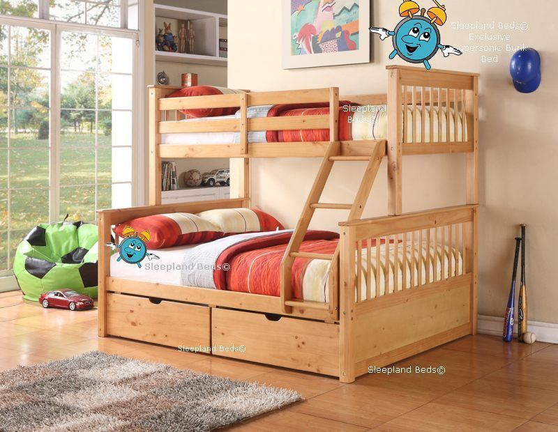 Oak Or White Triple Bunk With Drawers 3ft 4ft6 Supersonic