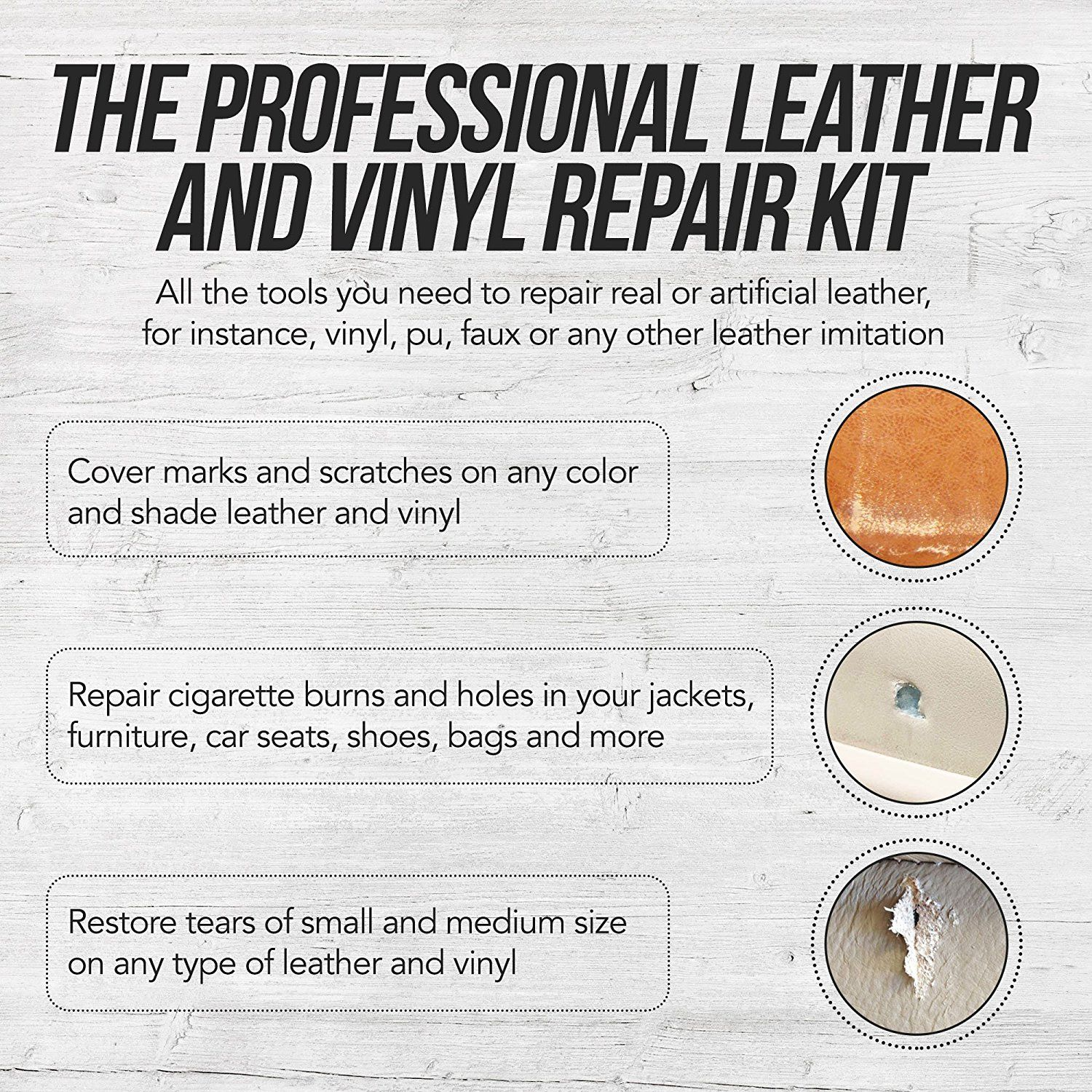 Amazon Com Mendkit Leather And Vinyl Repair Kit Adhesive Putty Filler Glue Patch Fabric And Tools Restorer Of Scr Vinyl Repair Leather Vinyl Black Sofa