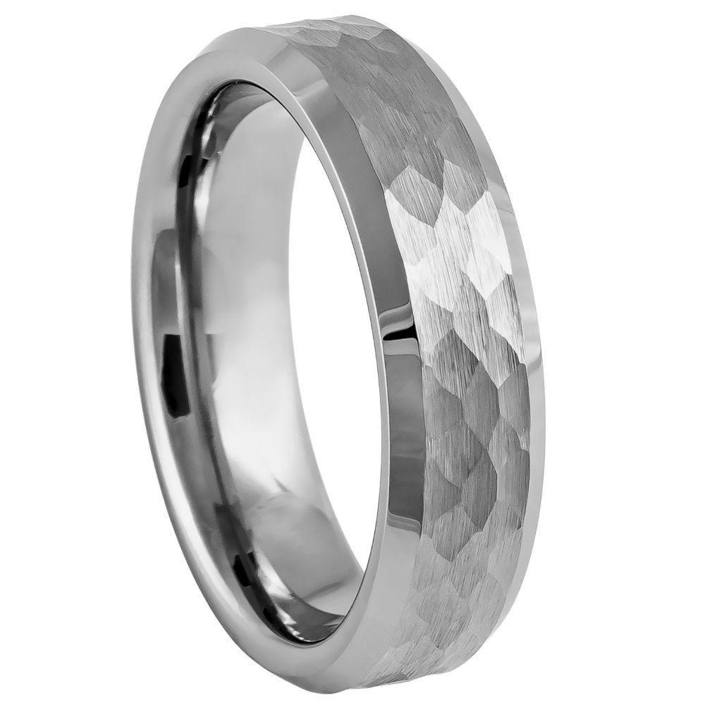 6mm Tungsten Wedding Band Hammered Tungsten Ring Mens Wedding Band Silver Wedding Band Tungsten Wedding Bands Custom Ring Designs Hammered Wedding Bands