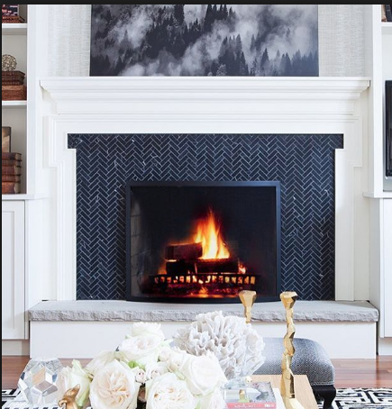 Bio Fuel Fireplace With Black Herringbone Surround Classic Fireplace Fireplace Tile Surround Fireplace Design