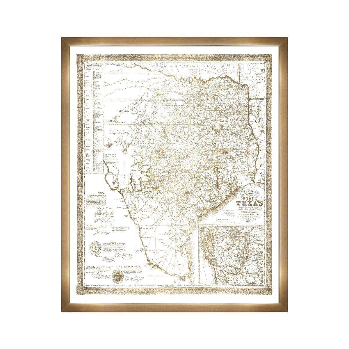 Texas 1856- Gold Metallic\' Framed Art
