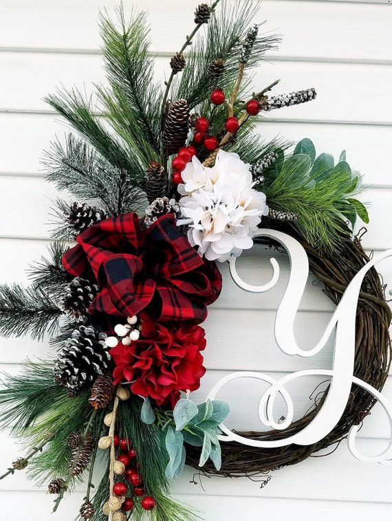 Monogrammed Wreath for Front Door, Initial Door Wreath,Rustic Christmas Wreath,Winter Wreaths For Front Door ,All Season Wreath #doubledoorwreaths