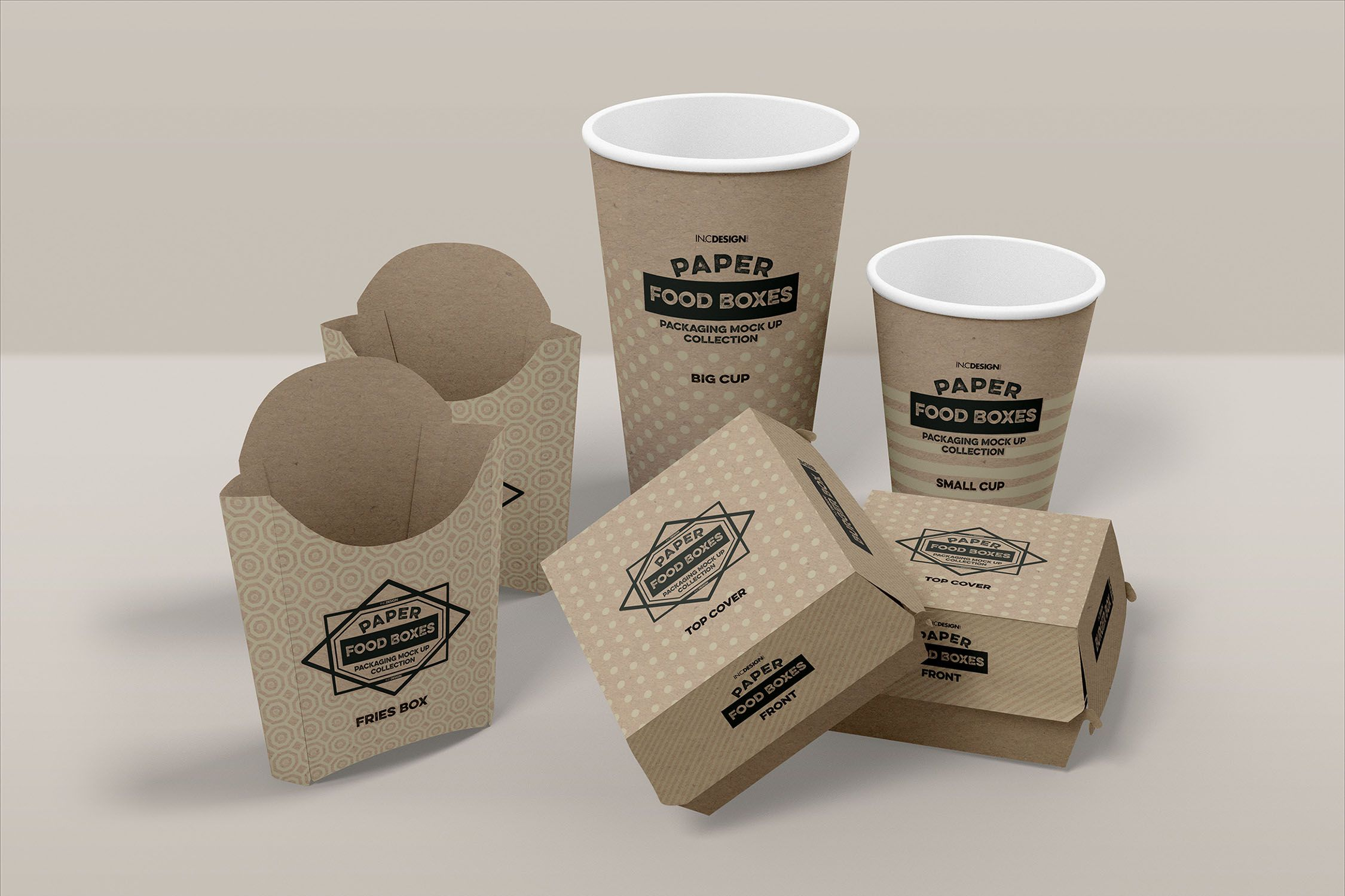 Download Fast Food Branding And Packaging Free Mockup Template 5400 X 3600 Pixels 300 Dpi Psd Burgerbox Frenchfrybox Packaging Mockup Free Fast Food Food Mockup