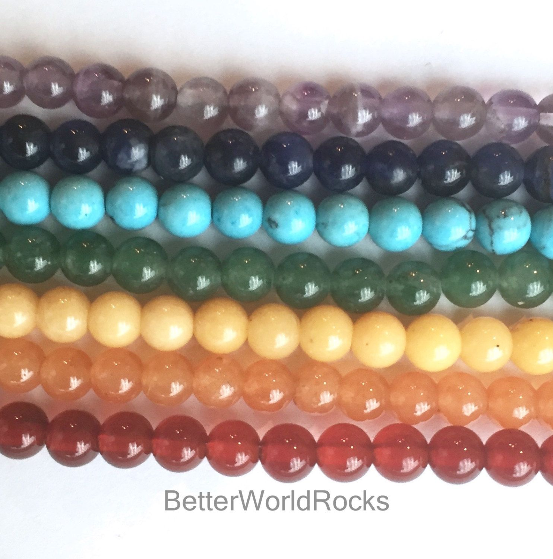 f6a9994200346 7 FULL Strands 4mm Chakra Beads, Healing Stones, Chakra Bead Set ...