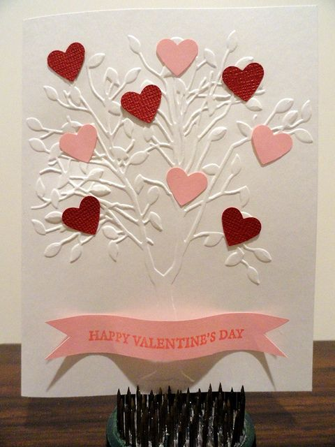 tree of hearts using a Darice embossing folder and some punched out hearts