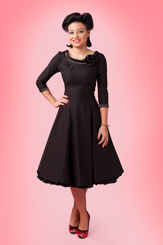 50s Sherwood Swing Dress in Petrol Green | Schwarzes Lackleder ...