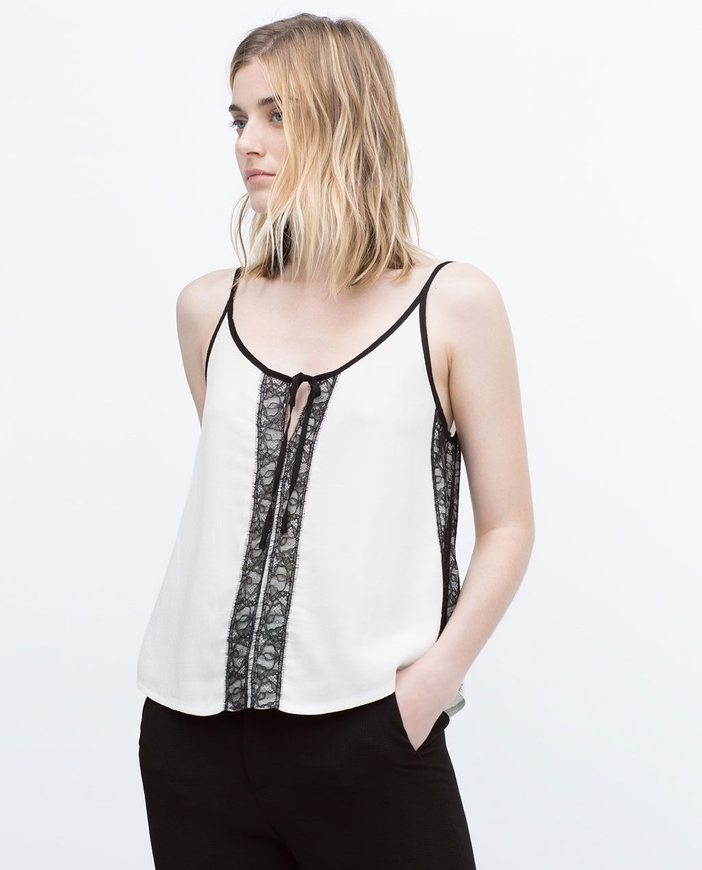 Zara black t shirt india - Top With Lace Detailing View All T Shirts Woman Zara India