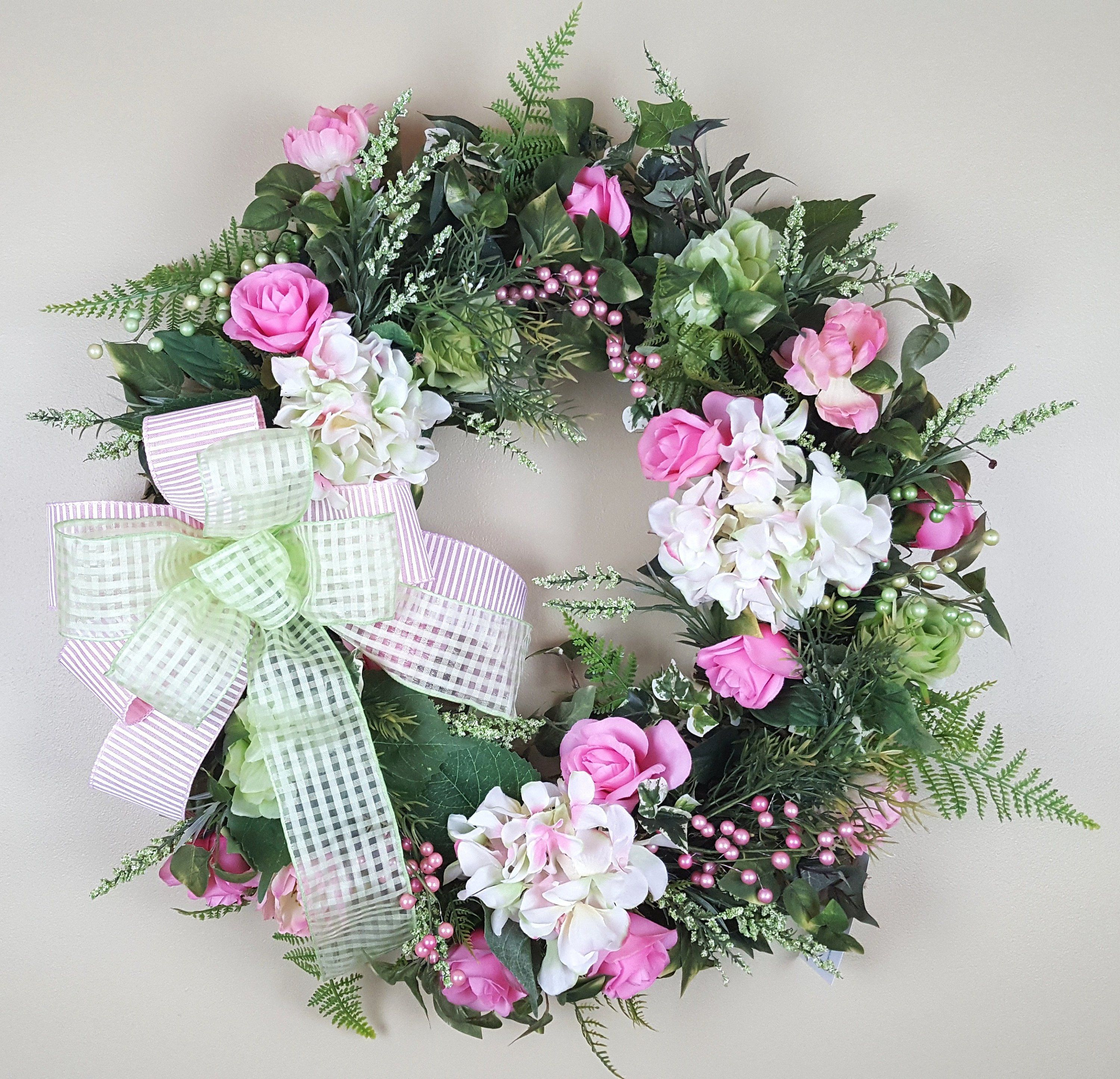 Photo of Spring wreath, summer wreath, Mother's Day gift, hydrangea wreath, everyday wreath, flower wreath in front of the door, wine wreath with flowers