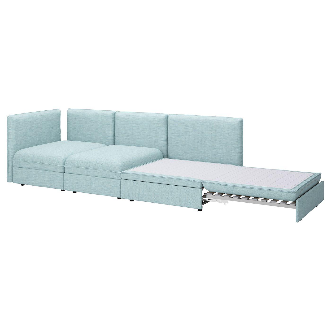 Vallentuna 3 Seat Modular Sleeper Sofa With Open End Hillared Light Blue In 2020 Modular Corner Sofa Modular Sofa Sofa Bed