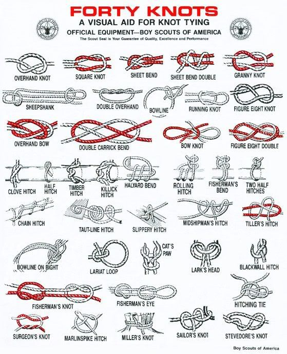 Knot tying! Boy Scouts. Always be prepared, they always say!