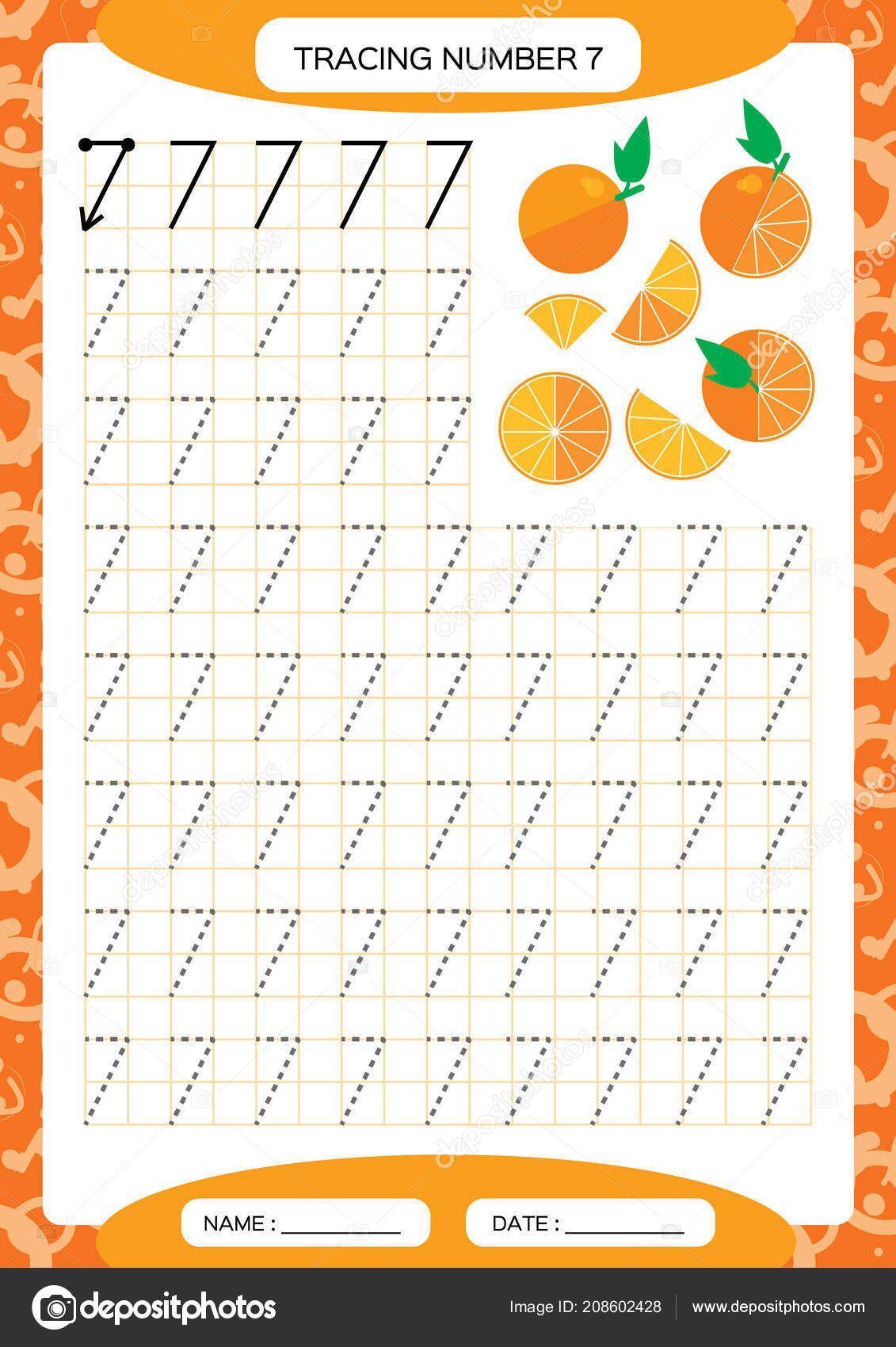 Number Seven Tracing Worksheet Kids Juicy Orange Preschool Worksheet Tracing Numbers Sheet Preschool Worksheets Preschool Number Worksheets Numbers Preschool [ 1700 x 1131 Pixel ]