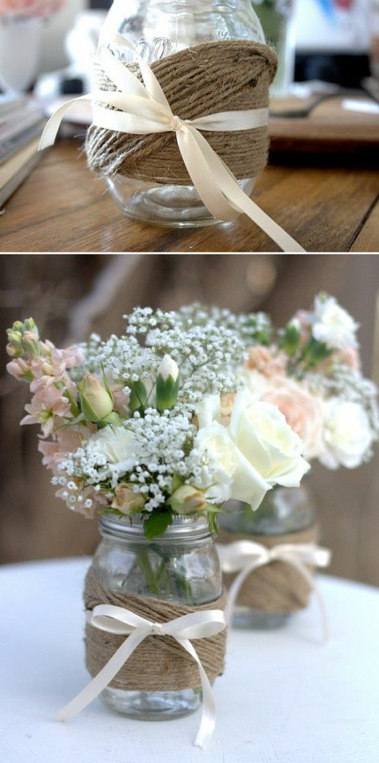 Mason jars and twine gettin hitched pinterest jar wedding diy mason jars like the jar twine idea but hate the bow flowers dont go with that style jar but like the jar solutioingenieria Gallery