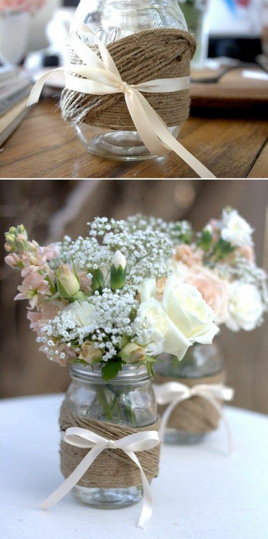 Macrame around mason jar wedding table centerpieces pinterest diy mason jars like the jar twine idea but hate the bow flowers dont go with that style jar but like the jar solutioingenieria Images