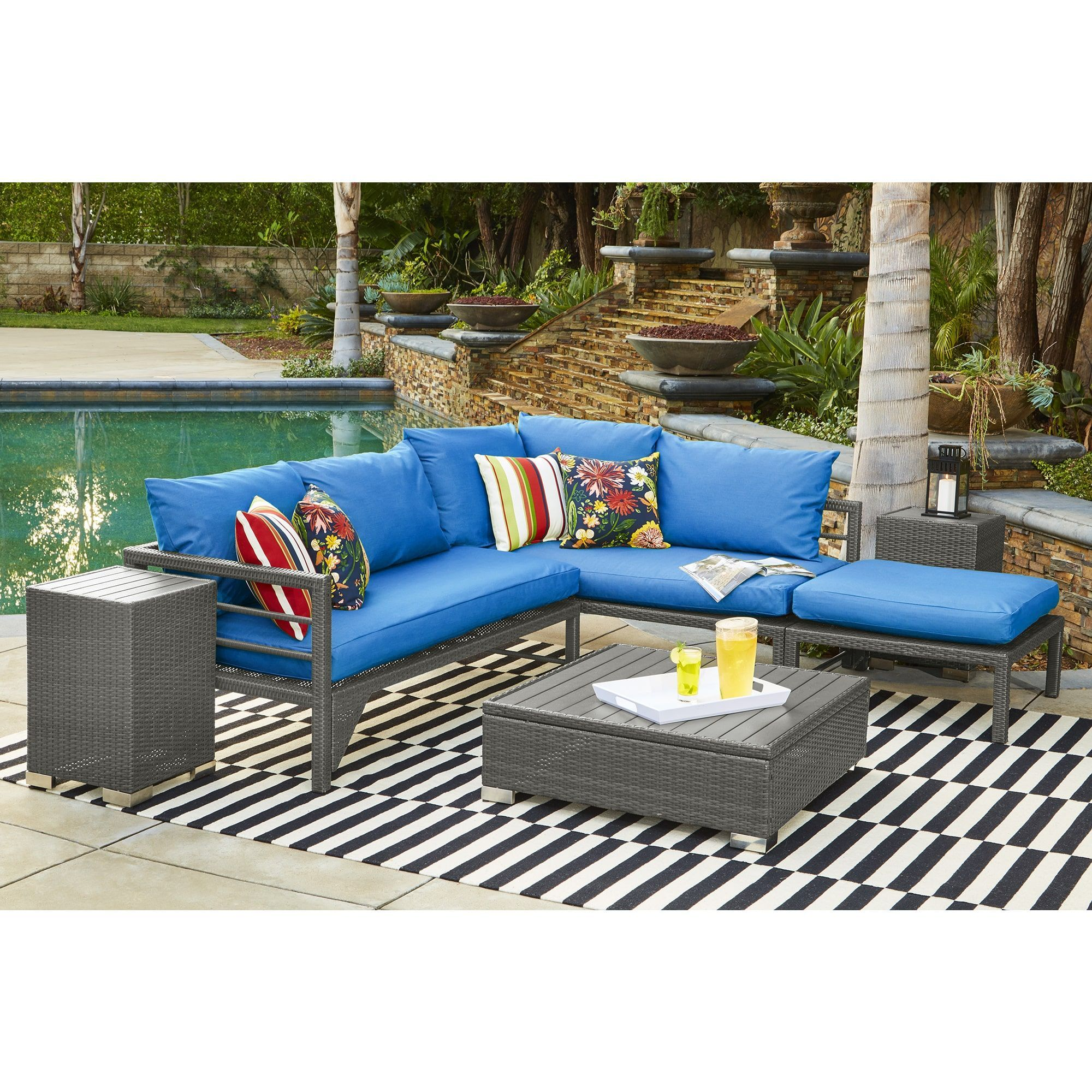 Indoor outdoor grey woven resin rattan sectional sofa with pacific blue sunbrella cushions grey blue size 3 piece sets patio furniture aluminum