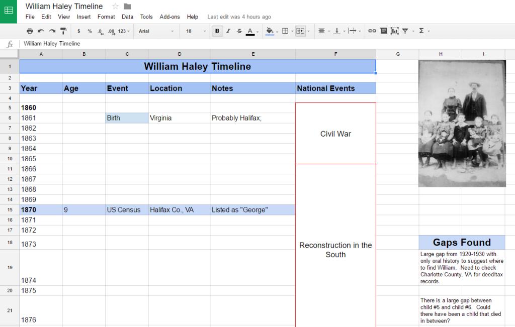 Organize Your Genealogy Using A Timeline Timeline Genealogy And