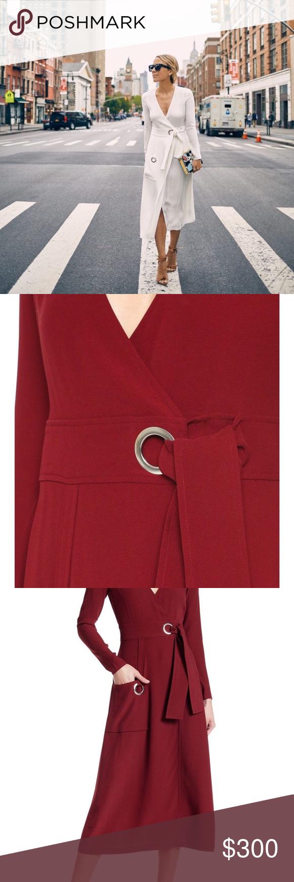Alc alc ray v neck maroon red long sleeve wrap nwt my posh