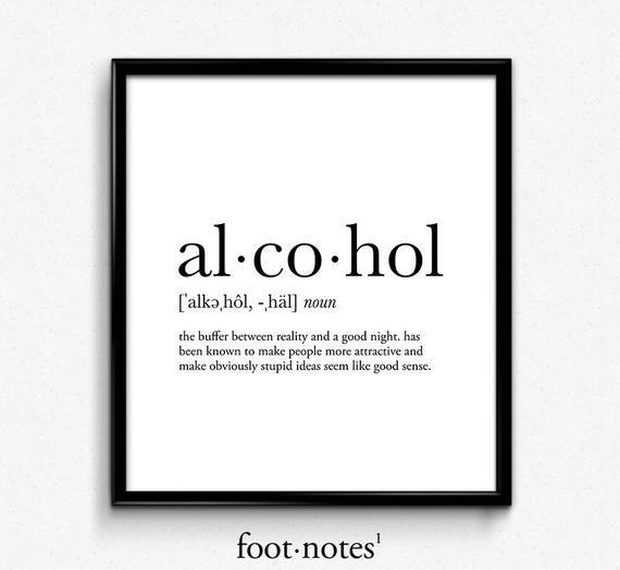 Alkohol-Definition Wörterbuch Kunstdruck, Wörterbuch Kunst, Büro Einrichtung, minimalistische Plakat, lustige Definition print, Definition Plakat, Zitate #collegedormroomideas