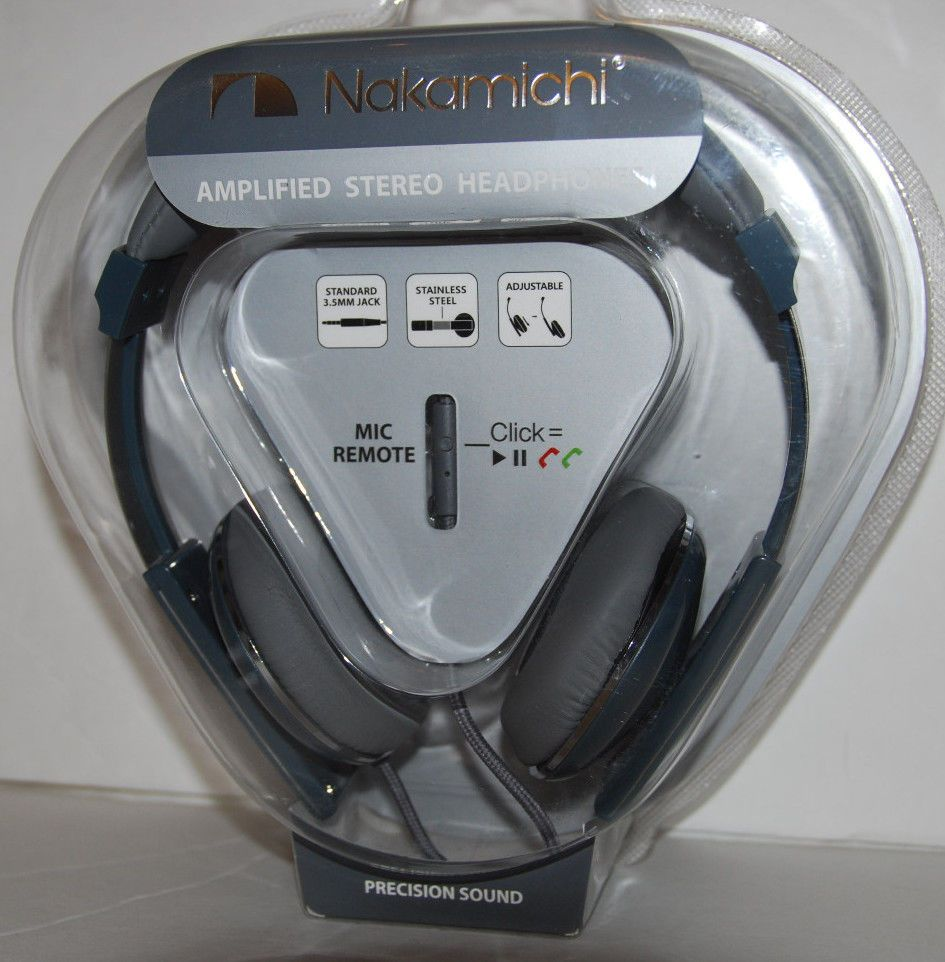 Nakamichi NK2000 Headphones Amplified Stereo with Mic Gray