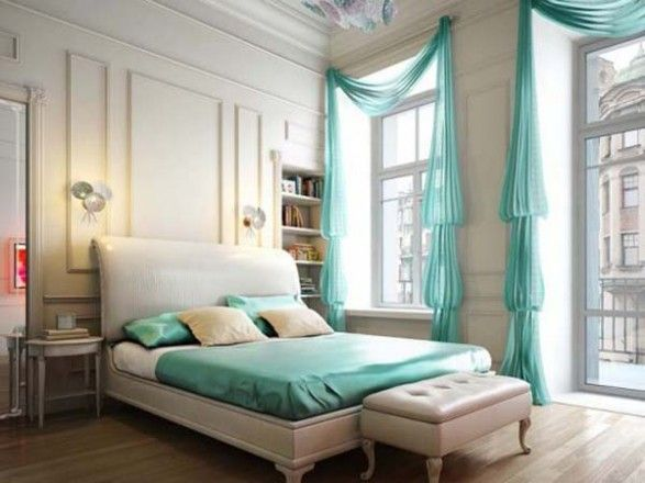 I like the drapes and seat thing at the end of the bed