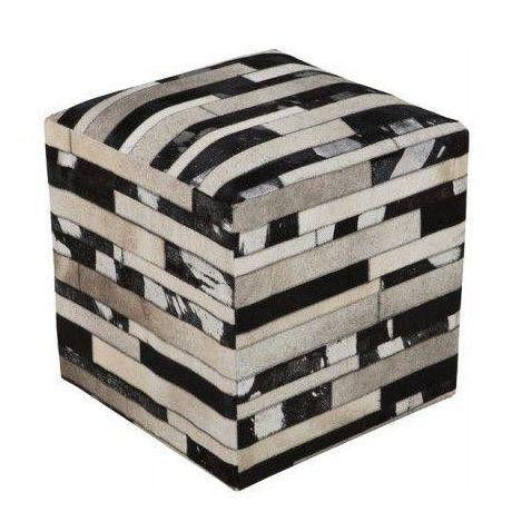 Patchwork Cowhide Ottoman Pouf - $1,299 Est. Retail - $799 on Chairish.com