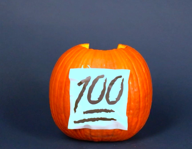 Trick #3: Transfer your pattern to your pumpkin with a piece of paper and a wooden skewer. | 3 Clever Tricks To Make Pumpkin Carving So Much Easier