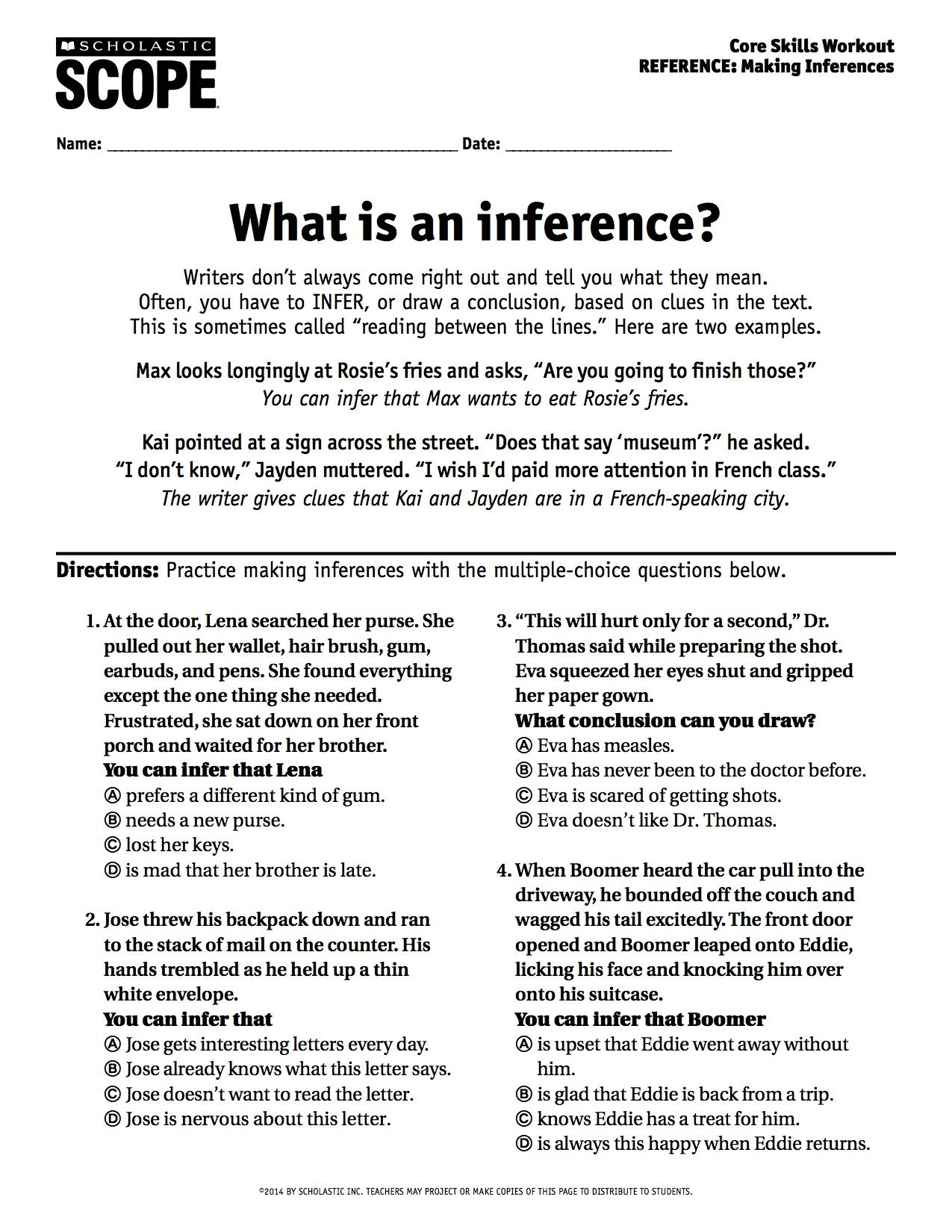 Middle School Inference Reading Worksheet